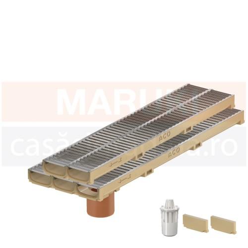 Set 5 rigole cu accesorii ACO Self Euroline 60 cu înălțime redusă, din beton cu polimeri, cu grătar din oțel zincat, lungime 100 cm, cod S810000-5