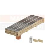 Set 6 rigole cu accesorii ACO Self Euroline 60 cu înălțime redusă, din beton cu polimeri, cu grătar din oțel zincat, lungime 100 cm, cod S810000-6