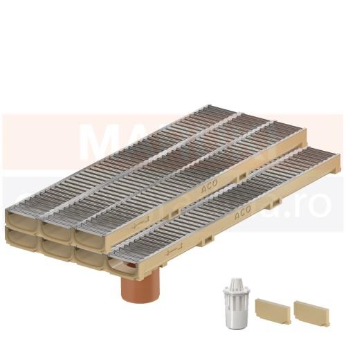 Set 7 rigole cu accesorii ACO Self Euroline 60 cu înălțime redusă, din beton cu polimeri, cu grătar din oțel zincat, lungime 100 cm, cod S810000-7