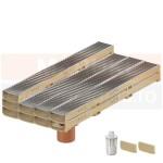 Set 9 rigole cu accesorii ACO Self Euroline 60 cu înălțime redusă, din beton cu polimeri, cu grătar din oțel zincat, lungime 100 cm, cod S810000-9