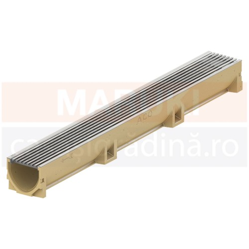 Rigolă ACO Self Euroline din beton cu polimeri, cu grătar din oțel inoxidabil, lungime 100 cm, cod 3850010323