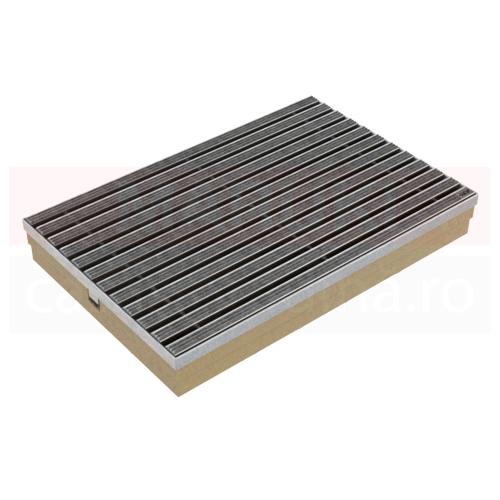 Ștergător de picioare ACO Self Vario, cu tavă din beton cu polimeri și grătar cu inserție de textil, culoare gri, 600mm x 400mm