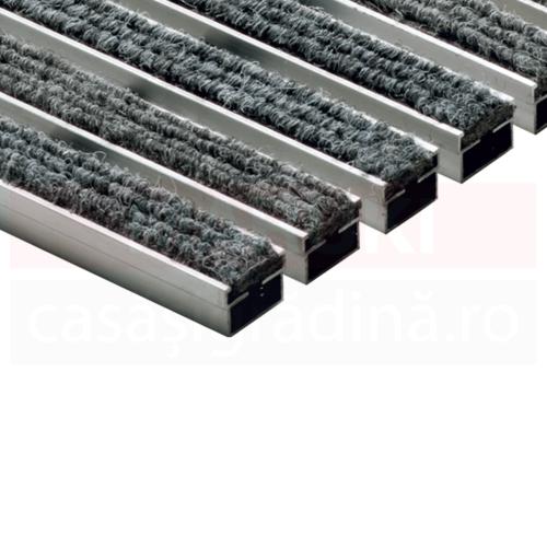 Ștergător de picioare ACO Self Indoor, cu ramă din aluminiu și grătar gri cu benzi textile, 750mm x 500mm
