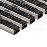 Ștergător de picioare ACO Self Vario, cu tavă din beton cu polimeri și grătar cu inserție de textil, culoare antracit, 750mm x 500mm