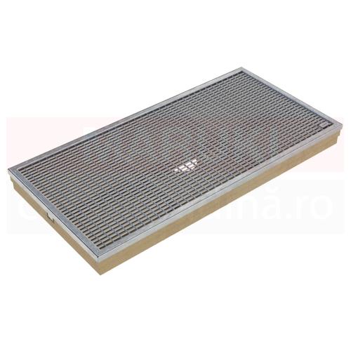 Ștergător de picioare ACO Self Vario, cu tavă din beton cu polimeri și grătar din oțel zincat, cu bare V, 1000mm x 500mm