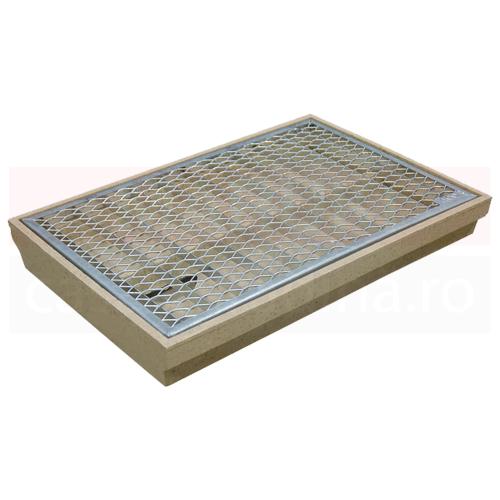 Ștergător de picioare ACO Self Vario, cu tavă din beton cu polimeri și grătar metalic tip plasă, 750mm x 500mm