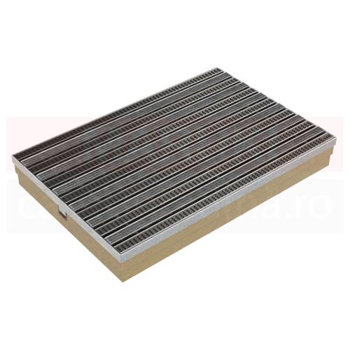 Ștergător de picioare ACO Self Vario, cu tavă din beton cu polimer și grătar cu inserție benzi textile mix, culoare gri, 600mm x 400mm