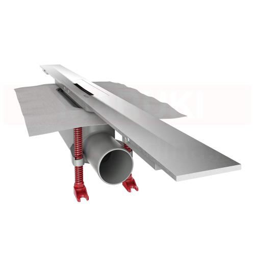 Rigolă de duș modulară ACO ShowerDrain S+ cu înălțime standard, flanșă textilă, grătar Plate din inox, lungime 800mm, cod 9010.51.2011