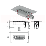 Rigolă de duș modulară ACO ShowerDrain S+ cu înălțime redusă, flanșă textilă, grătar Plate din inox, lungime 1000mm, cod 9010.51.2113