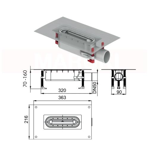 Rigolă de duș modulară ACO ShowerDrain S+ cu înălțime redusă, flanșă textilă, grătar Plate din inox, lungime 800mm, cod 9010.51.2111