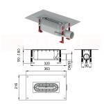 Rigolă de duș modulară ACO ShowerDrain S+ cu înălțime standard, flanșă textilă, grătar Plate din inox, lungime 900mm