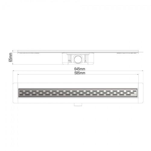 Rigolă de duș ACO ShowerDrain C cu flanșă perete, grătar SLOT, lungime 585mm