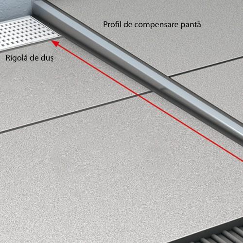 Profil din inox pentru compensare pantă duș, ACO ShowerStep, stânga, lungime 990mm, înălțime 12.5 mm, finisaj mat
